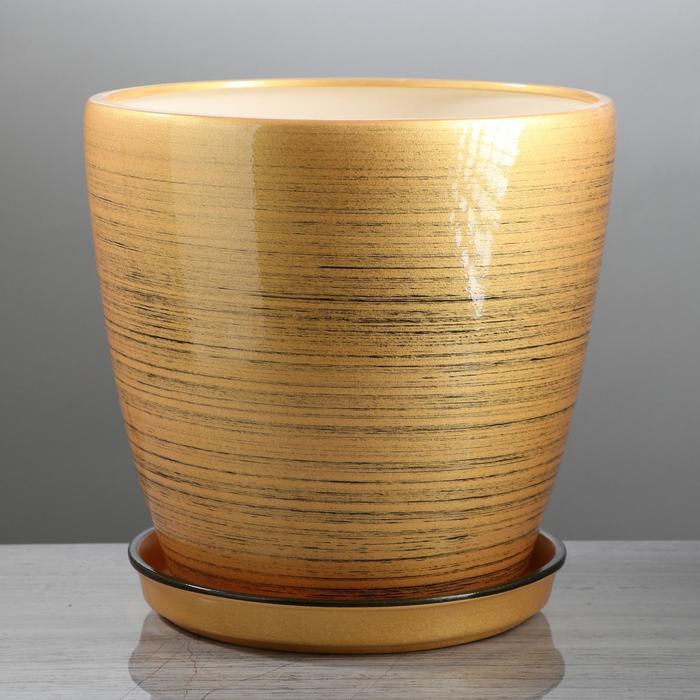 """Горшок для цветов """"Грация"""" глянец, чёрно-золотой, 10 л - фото 727200962"""