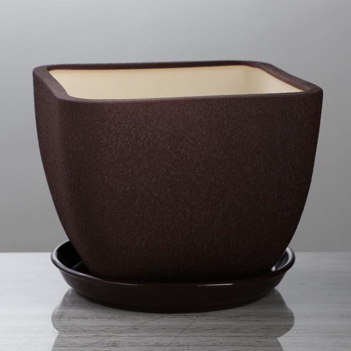 """Горшок для цветов """"Ноктюрн"""" шёлк, шоколадный цвет, 4,8 л - фото 727200809"""