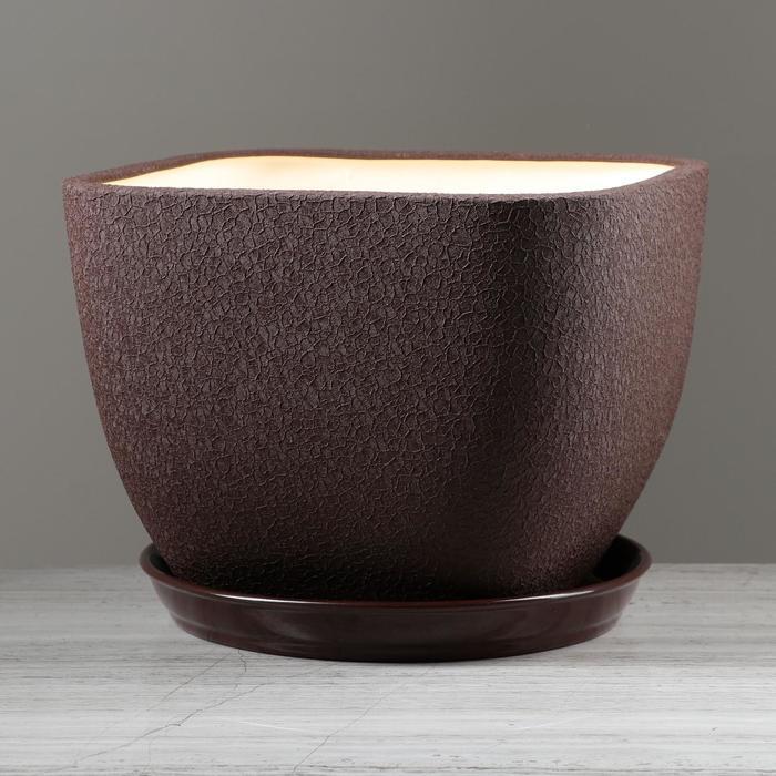 """Горшок для цветов """"Ноктюрн"""" шёлк, шоколадный цвет, 11,5 л - фото 1649163"""