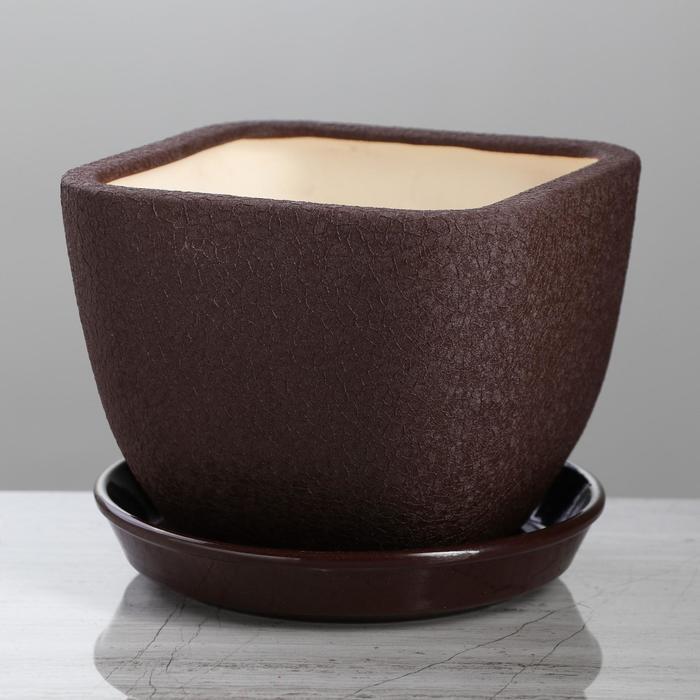 """Горшок для цветов """"Ноктюрн"""" шёлк, шоколадный цвет, 1,8 л - фото 1649226"""