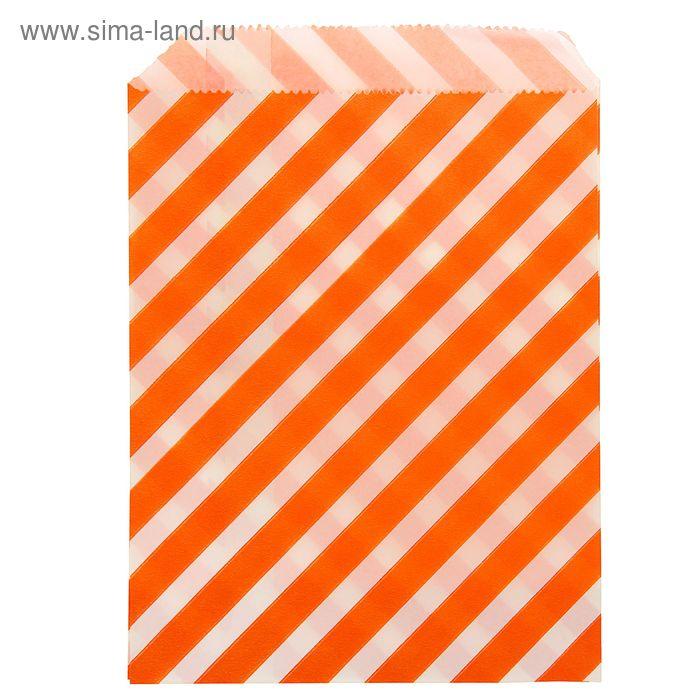 """Пакет фасовочный с плоским дном 13 х 18 см """"Полоска"""", цвет оранжевый"""