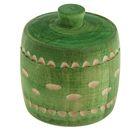 Бочонок для мёда и сыпучих продуктов 100 мл, 70*65 мм, зелёный резной, липа