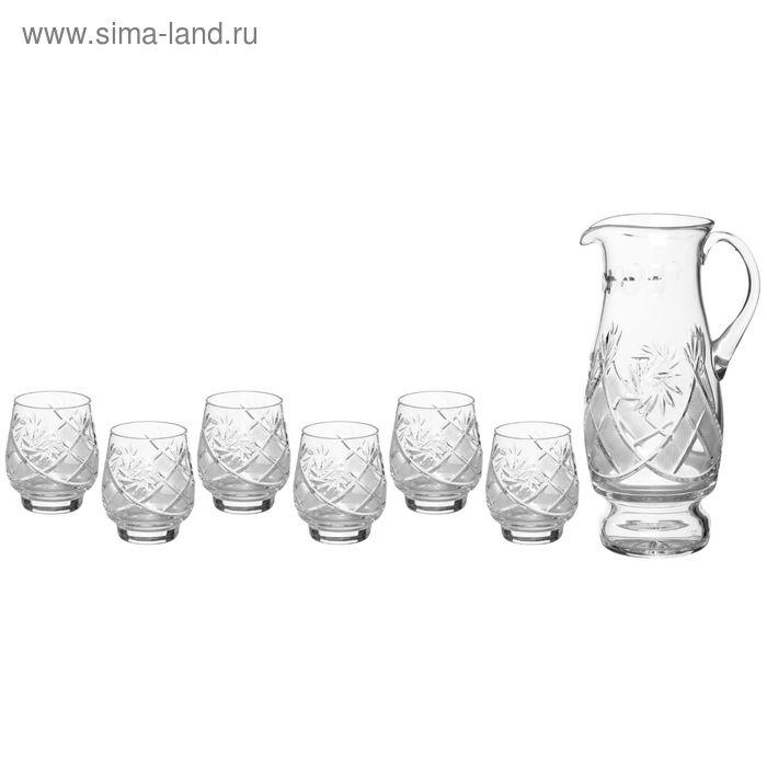 Набор питьевой: кувшин 1,5 л, h=26 см, 6 стаканов 280 мл, h=9,8 см