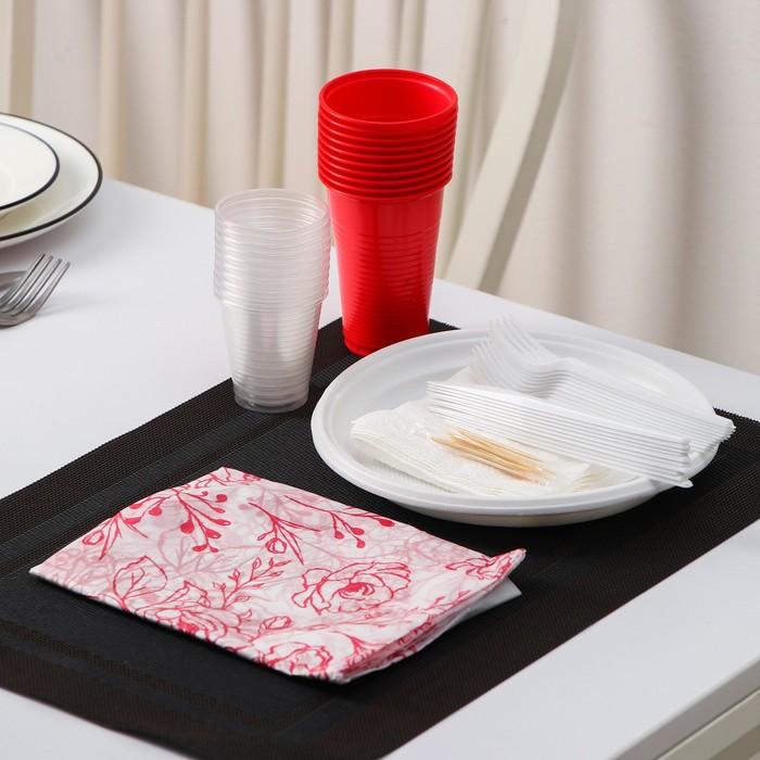 """Набор """"На природу"""": 10 тарелок белых d=22 см, 10 стаканов цветных 200 мл, 10 вилок белых"""
