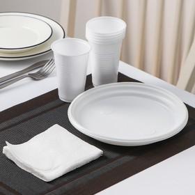 Набор одноразовой посуды «Красавчик», 6 персон, цвет белый Ош