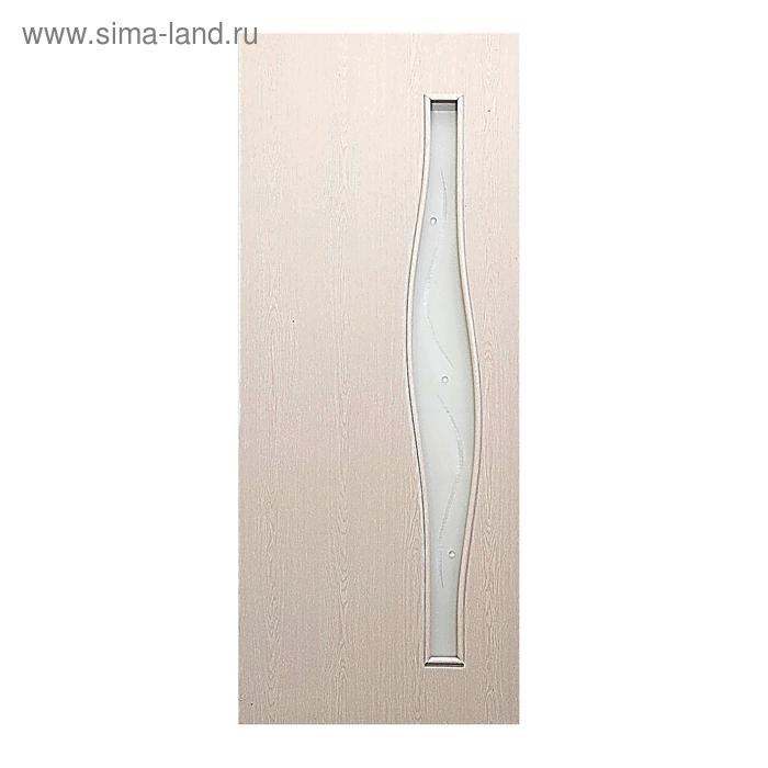 Дверное полотно фьюзинг Волна Беленый дуб 2000х900