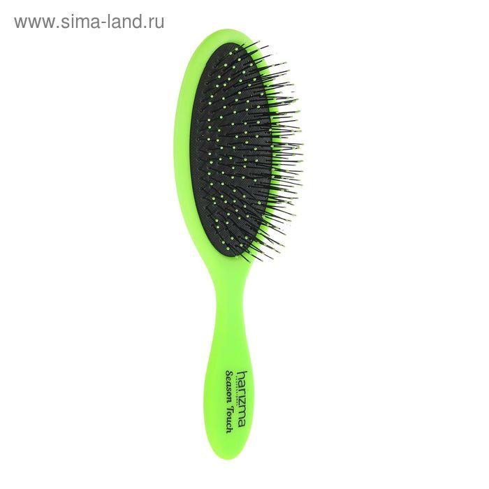 Расчёска массажная овальная, цвет зелёный