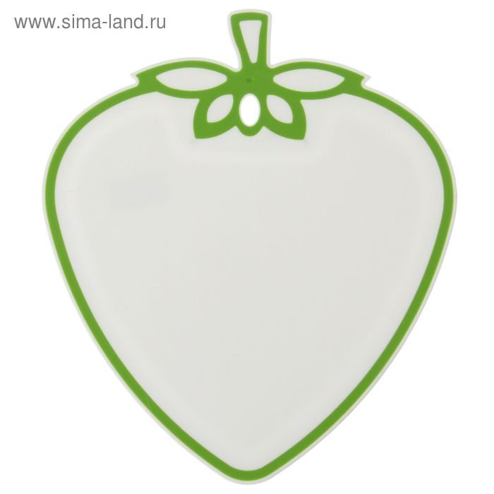 """Доска разделочная 32х28 см """"Клубника"""", цвет бело-зелёный"""