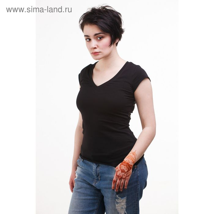 Футболка женская, размер 48, цвет чёрный (М-413/1-02)