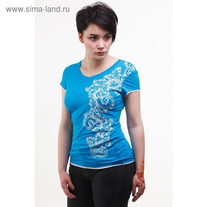 Футболка женская, размер 50, цвет бирюзовый (М-376/2-10)