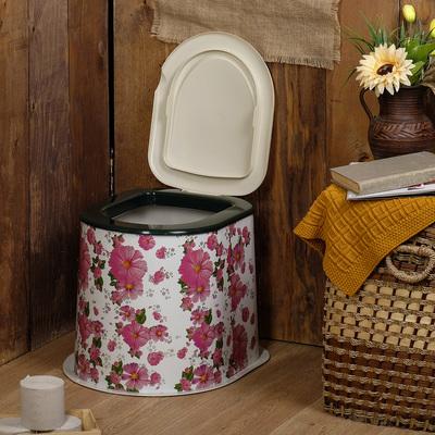 Туалет дачный, h = 39 см, без дна, с креплением к полу, цвет МИКС, «Декор»