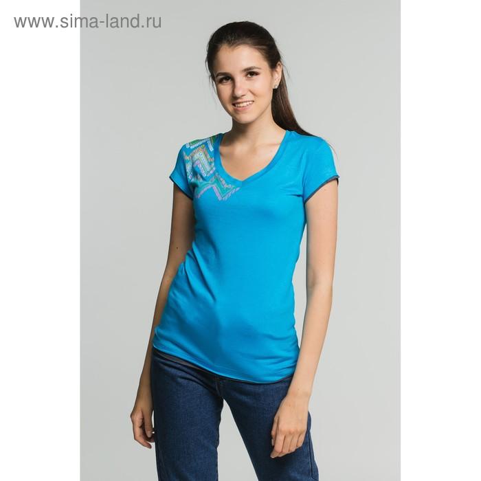 Футболка женская, размер 52, цвет бирюзовый (М-376/1-10)
