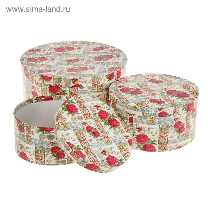 """Набор коробок круглых 3 в 1 """"Цветы с колибри"""""""