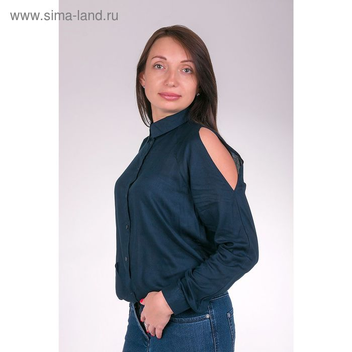 Блузка женская L3161 цвет темно-синий, размер  S(44)