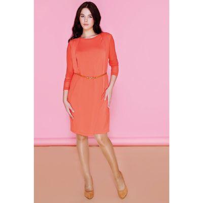 Платье женское DR6021 С+, цвет оранжевый, размер  XXL(52)