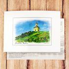 Открытка почтовая с иллюстрацией художника «Нижний Тагил. Сторожевая башня на Лисьей горе», 10,5 х 14,5 см