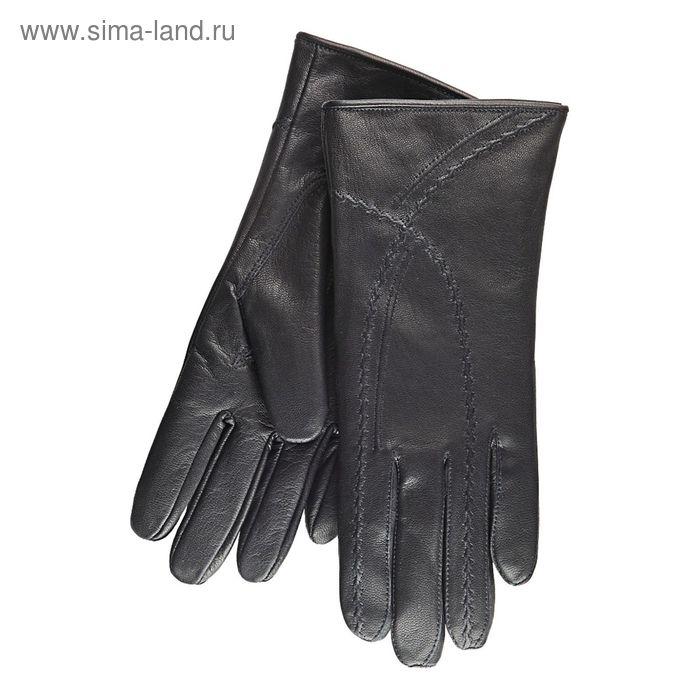 Перчатки женские, модель №382, материал - козлина, подклад - натуральный мех, р-р 19, чёрные