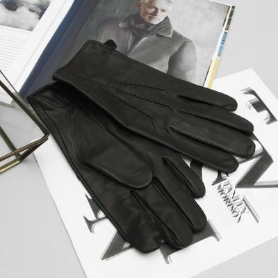 Перчатки мужские, материал - козлина, без подклада, р-р 22, цвет чёрный