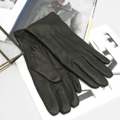 Перчатки мужские, материал - козлина, подклад - полушерстяной, р-р 22, цвет чёрный