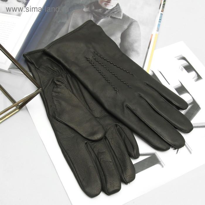 Перчатки мужские, модель №32, материал - козлина, подклад - полушерстяной, р-р 23, чёрные