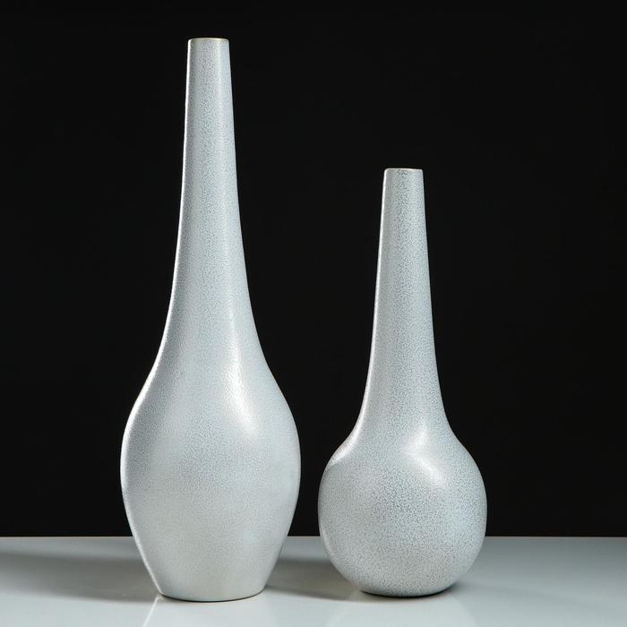 "Набор ваз ""Фантазия"", цвет серый, 48/38 см, керамика - фото 1649452"