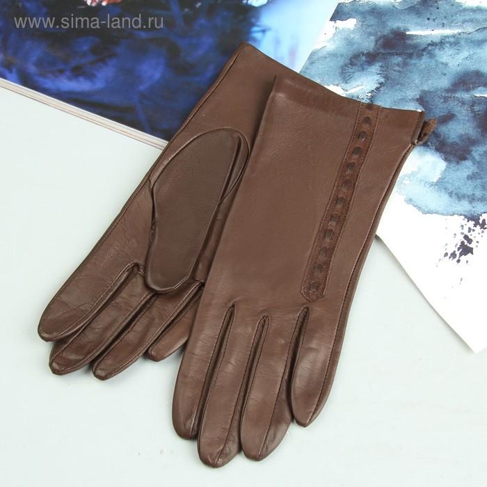 Перчатки женские, модель №420р, материал - овчина, без подклада, р-р 19, коричневые