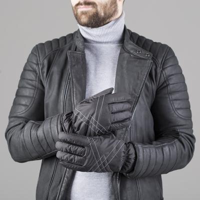 Перчатки мужские, модель №702, материал - свинья/болонья, подклад - искусственный мех, р-р 23, чёрные