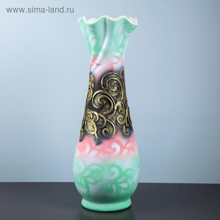 """Ваза напольная """"Вьюнок"""" барокко, зелёно-розовый фон"""