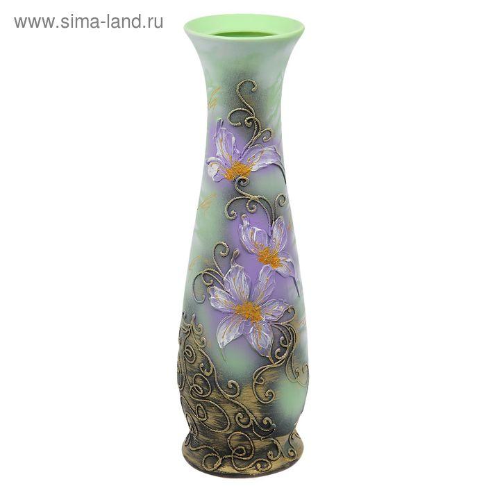 """Ваза напольная """"Люда"""" акрил, цветы, золото"""
