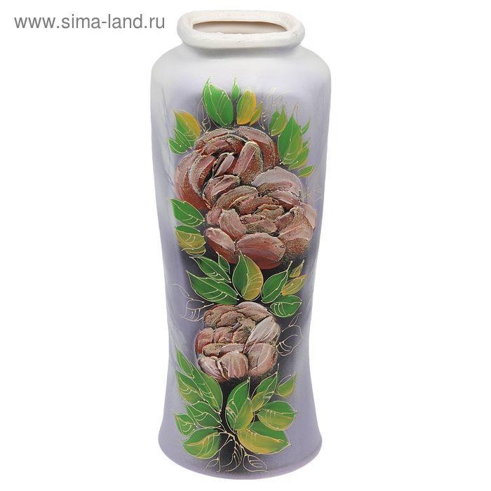 """Ваза напольная """"Иллюзия"""" акрил, цветы, серая"""