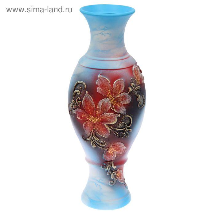 """Ваза напольная """"Юлия"""" акрил, цветы, голубая"""