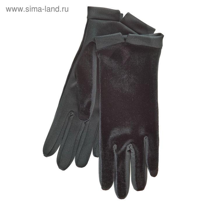 Перчатки женские, модель №1108б, материал - трикотаж, без подклада, р-р 19, чёрные