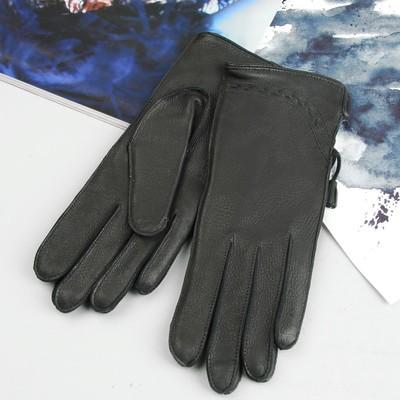 Перчатки женские, модель №170, материал - олень, подклад - полушерстяной, р-р 17, чёрные
