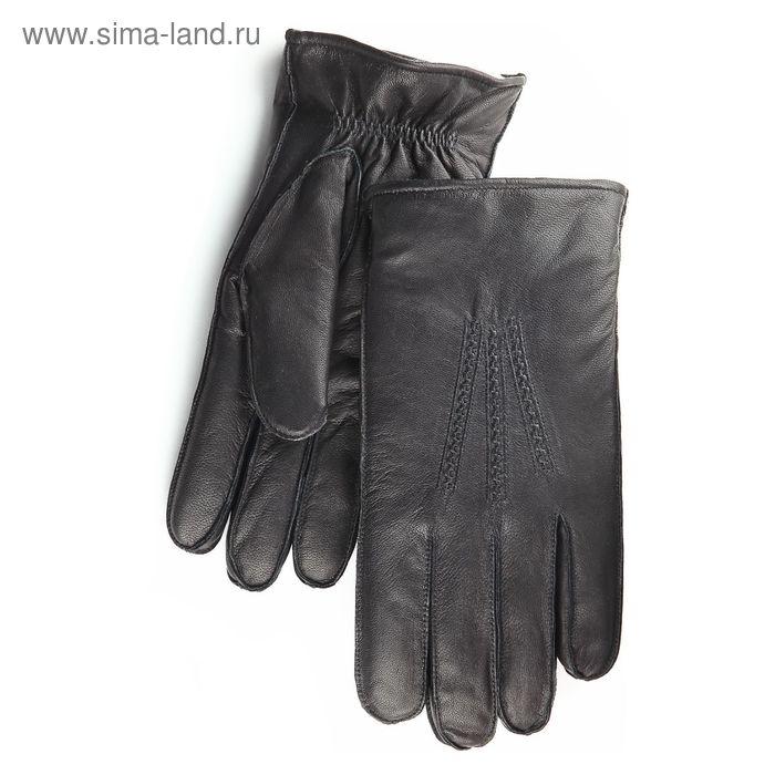 Перчатки мужские, модель №64, материал - козлина, подклад - ворсовый трикотаж, р-р 24, чёрные