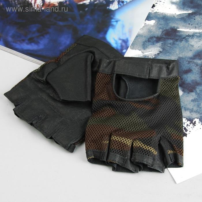 Перчатки мужские, модель №671у, материал - свинья/сетка, без подклада, р-р 24, чёрный/хаки
