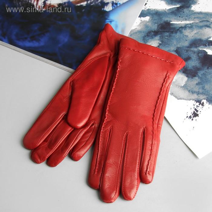 Перчатки женские, модель №344р, материал - овчина, подклад - полушерстяной, р-р 17, красные