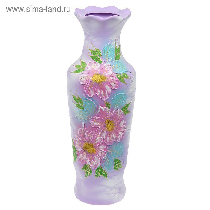 """Ваза напольная """"Люда"""" акрил, цветы, сиреневая"""