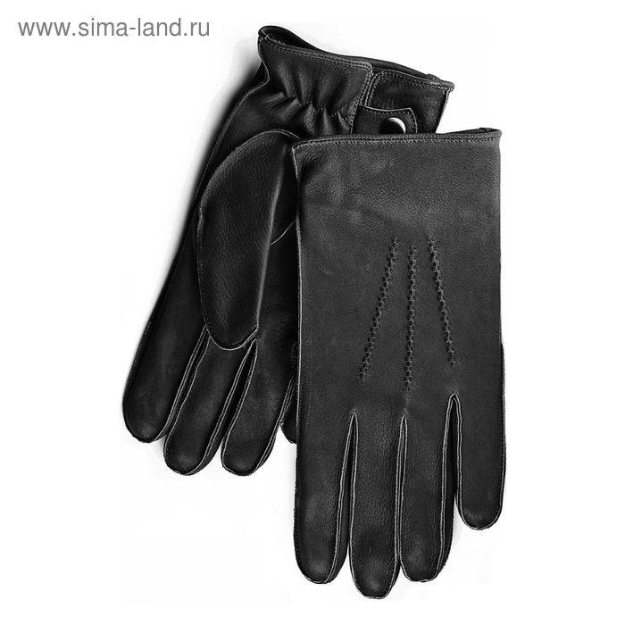 Перчатки мужские, модель №114, материал - олень, подклад - полушерстяной, р-р 23, чёрные