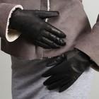 Перчатки женские, козлина, подклад, р-р 17, цвет чёрный
