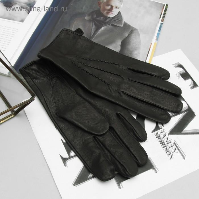 Перчатки мужские, модель №52, материал - козлина, без подклада, р-р 22, чёрные