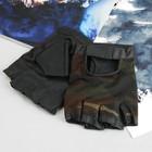 Перчатки мужские, модель №671у, материал - свинья/сетка, без подклада, р-р 22, чёрный/хаки