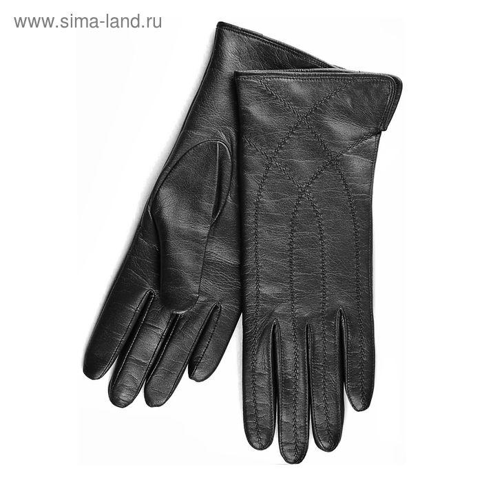 Перчатки женские, модель №355, материал - овчина, подклад - чистошерстяной, р-р 19, чёрные