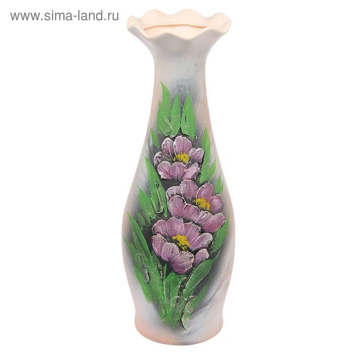 """Ваза напольная """"Эллегия"""" акрил, сиреневые цветы"""