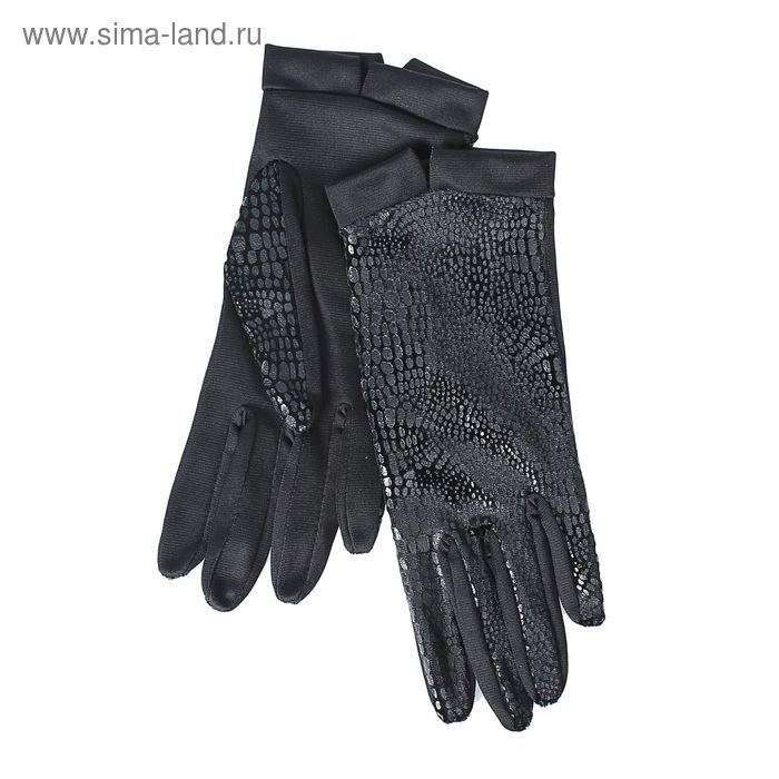 Перчатки женские, модель №1108у, материал - трикотаж, без подклада, р-р 19, чёрные