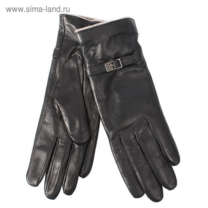 Перчатки женские, модель №412, материал - овчина, подклад - чистошерстяной, р-р 17, чёрные