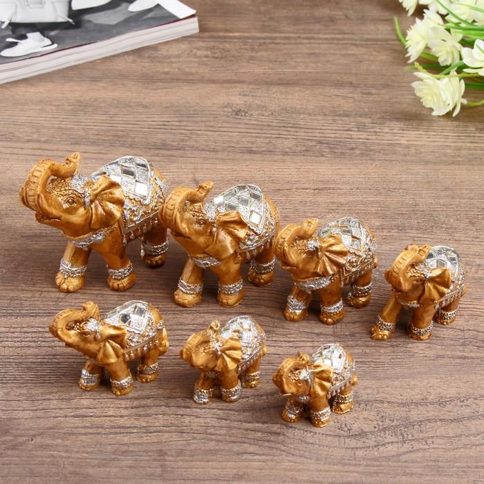 "Сувенир полистоун набор 7 шт ""Семейство слонов"" 20х9,5х9 см - фото 797717874"