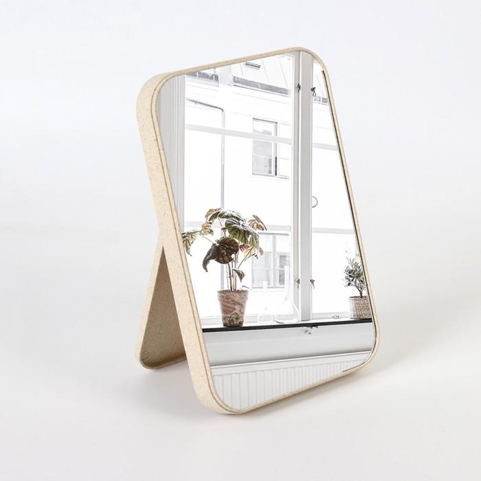 Зеркало на подставке, зеркальная поверхность 16 × 24 см, цвет бежевый