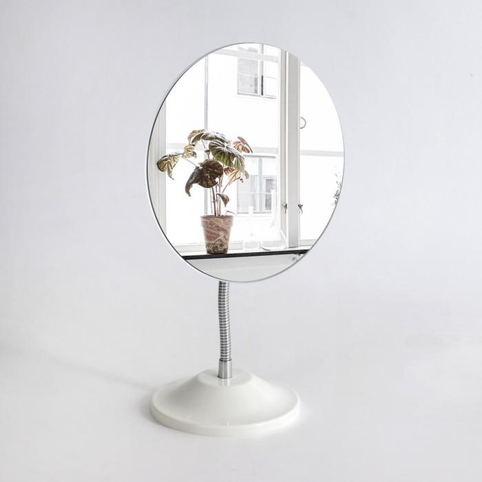Зеркало настольное, на гибкой ножке, зеркальная поверхность 13,5 × 16,2 см, цвет белый