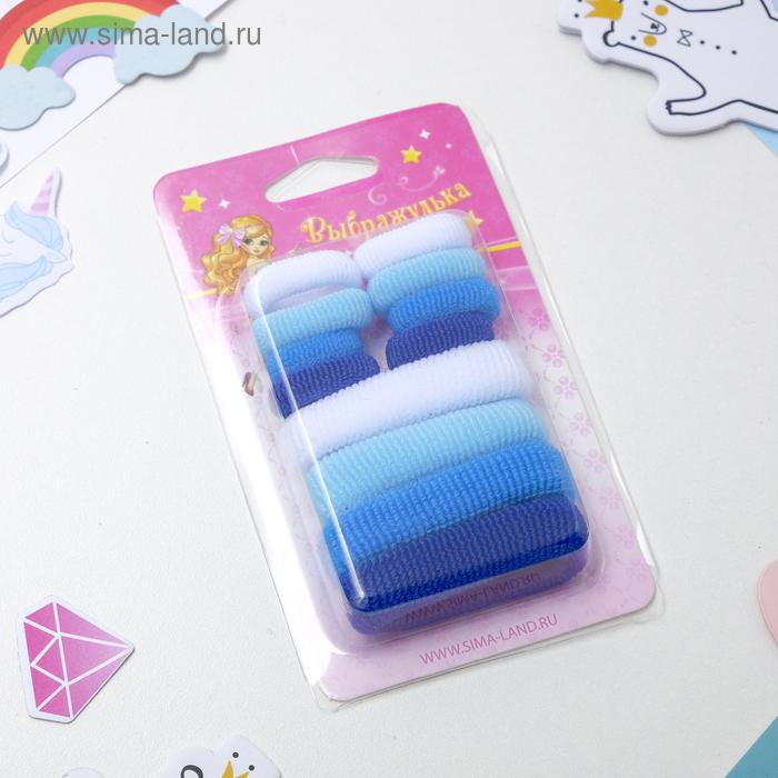 """Резинка для волос """"Махрушка"""" ассорти (набор 12 шт.), голубые"""