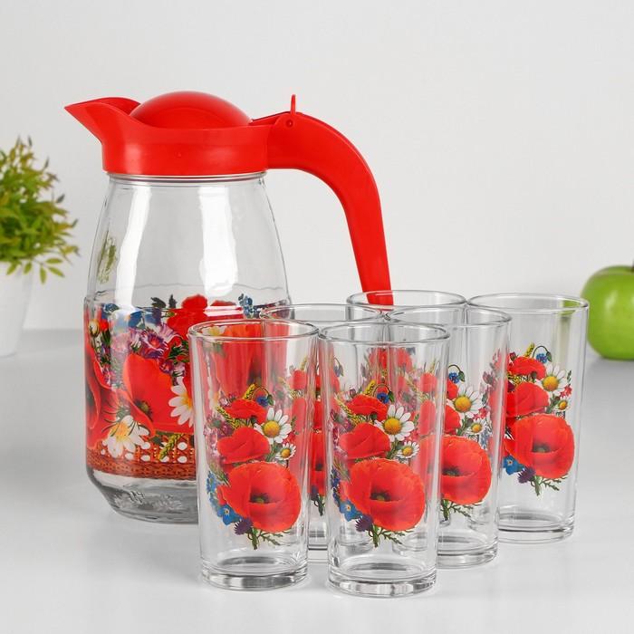 """Набор питьевой """"Маки"""", 7 предметов: кувшин 1,5 л, 6 стаканов 230 мл"""